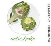 artichoke on plate illustration ...   Shutterstock . vector #1405349654