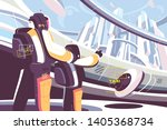 weekdays of people in future... | Shutterstock .eps vector #1405368734