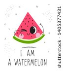 postcard cute watermelon on a... | Shutterstock .eps vector #1405377431