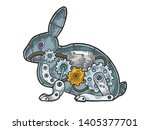 Stock vector mechanical hare rabbit animal color sketch engraving vector illustration scratch board style 1405377701