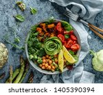 buddha bowl salad with baked... | Shutterstock . vector #1405390394