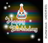 happy birthday card with cute... | Shutterstock .eps vector #140539351