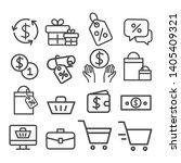 shopping line icons set... | Shutterstock .eps vector #1405409321