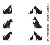 cat and dog vector silhouettes... | Shutterstock .eps vector #1405425557