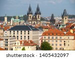 church spires and towers in... | Shutterstock . vector #1405432097