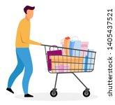man with shopping cart flat... | Shutterstock .eps vector #1405437521