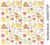 pizza seamless pattern | Shutterstock .eps vector #140547739