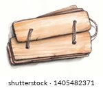 antique ayurvedic palm leaf... | Shutterstock . vector #1405482371