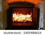 Peat fire in a whisky distillery kiln