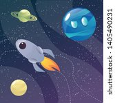 funny cartoon colorful planets...