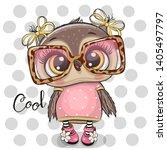 cute cartoon owl in pink... | Shutterstock .eps vector #1405497797