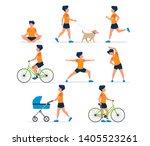 happy man doing different... | Shutterstock . vector #1405523261