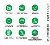cbd oil icons set including thc ... | Shutterstock .eps vector #1405547714