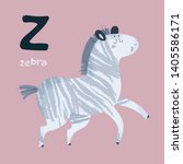 animal alphabet. zebra horse.... | Shutterstock .eps vector #1405586171