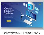 cyber security isometric flat... | Shutterstock .eps vector #1405587647