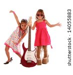 two adorable sisters dancing on ... | Shutterstock . vector #14055883