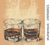 whiskey in two glasses.... | Shutterstock .eps vector #140560021