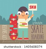 boy with skateboard on town... | Shutterstock .eps vector #1405608374