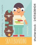 boy with skateboard on retro... | Shutterstock .eps vector #1405608404