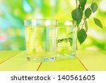 glasses of birch sap on wooden... | Shutterstock . vector #140561605