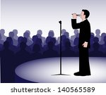 person before a microphone | Shutterstock . vector #140565589