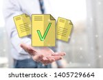Stock photo document validation concept above the hand of a man in background 1405729664