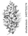 hand drawn cobra among wild...   Shutterstock . vector #1405733174
