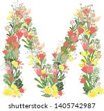 floral alphabet letters with... | Shutterstock .eps vector #1405742987