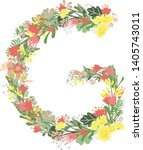 floral alphabet letters with... | Shutterstock .eps vector #1405743011