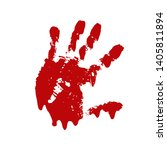 bloody hand print isolated... | Shutterstock .eps vector #1405811894