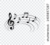 music notes on curved stave ... | Shutterstock .eps vector #1405857287