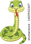 cute green snake cartoon on... | Shutterstock .eps vector #1405932347