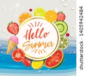 hello summer with delicious... | Shutterstock .eps vector #1405942484