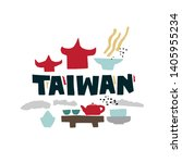 vector flat taiwan symbols and... | Shutterstock .eps vector #1405955234