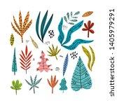 set tropical leaves in trendy...   Shutterstock .eps vector #1405979291