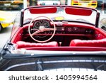 Interior of the classic retro vehicle  antique vintage collection car - stock photo