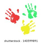 print of hand from ink colorful ...   Shutterstock .eps vector #140599891