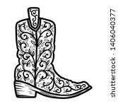 cowboy boot with floral pattern.... | Shutterstock .eps vector #1406040377