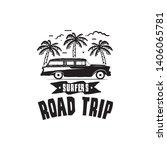 vintage surf logo print design... | Shutterstock .eps vector #1406065781