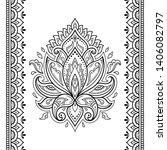 set of lotus mehndi flower...   Shutterstock .eps vector #1406082797