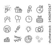 happy birthday icon set.... | Shutterstock .eps vector #1406093267