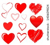 vector hearts set | Shutterstock .eps vector #140609824