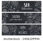spa relaxation banner. sauna... | Shutterstock .eps vector #1406109944