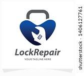 lock repair logo design template | Shutterstock .eps vector #1406127761