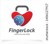 fingerprint lock logo design... | Shutterstock .eps vector #1406127917