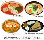 thai food set   thai cuisine  ... | Shutterstock .eps vector #1406137181