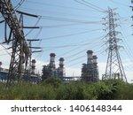 power plants meet nature ... | Shutterstock . vector #1406148344