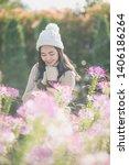 portrait of happy asian young... | Shutterstock . vector #1406186264