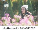 portrait of happy asian young... | Shutterstock . vector #1406186267