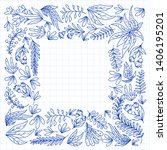 hand vector drawn floral ... | Shutterstock .eps vector #1406195201